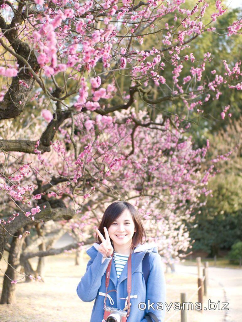 岡山後楽園 梅林 ピンクの梅の花とイクリン okayama.biz