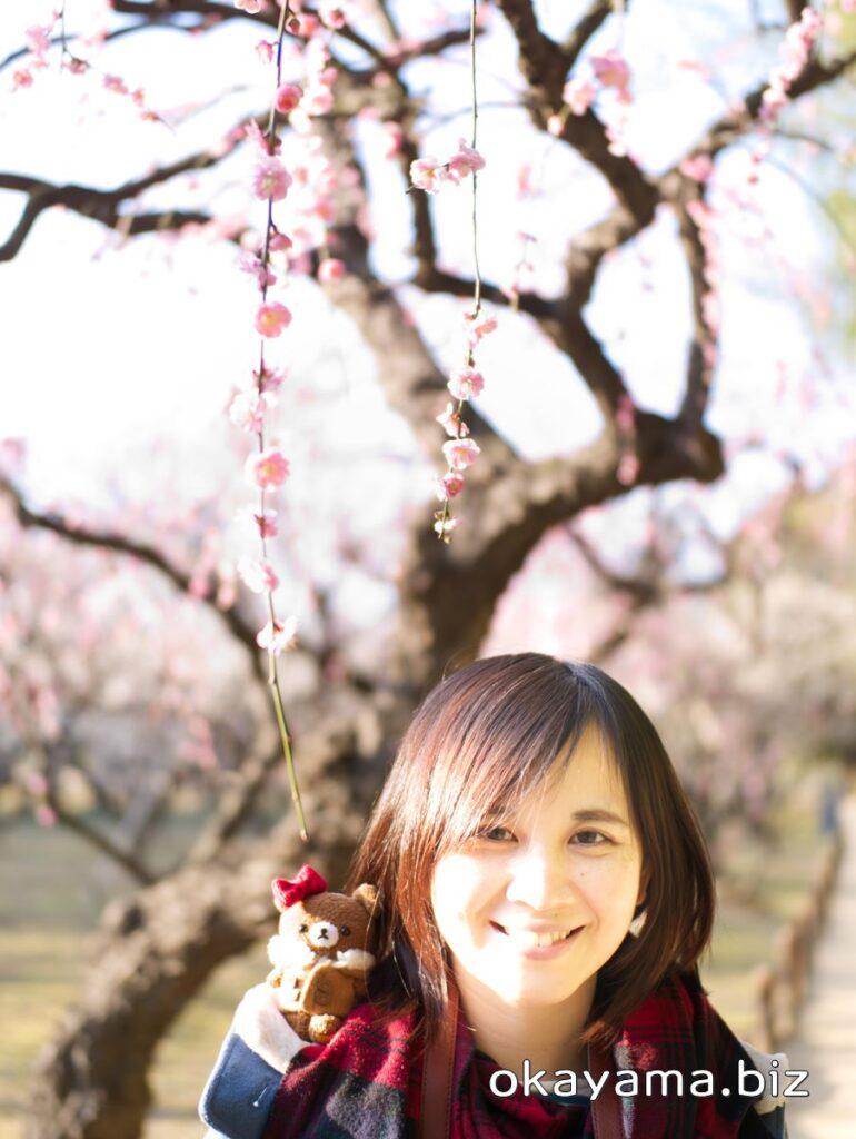 岡山後楽園 梅林 梅の花 イクリンとチャイロイコグマ okayama.biz