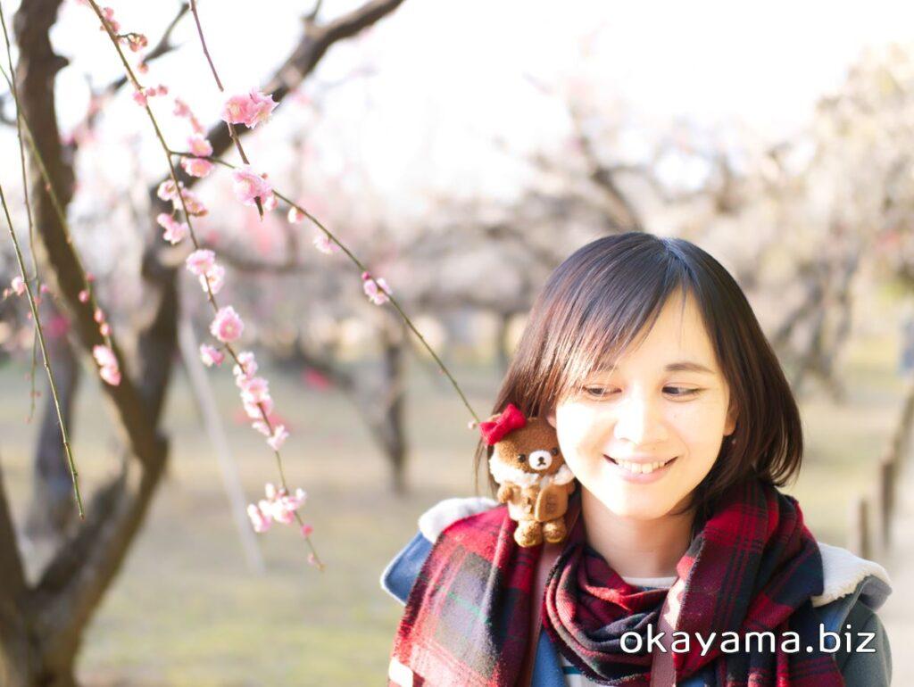 岡山後楽園 梅林 梅の花 チャイロイコグマを見るイクリン okayama.biz