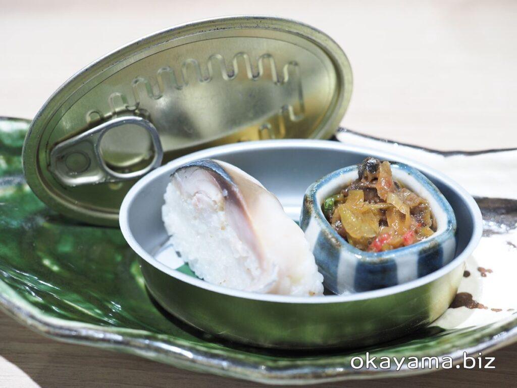 さば料理専門店 SABAR+岡山店 お通しの鯖寿司と煮付け okayama.biz
